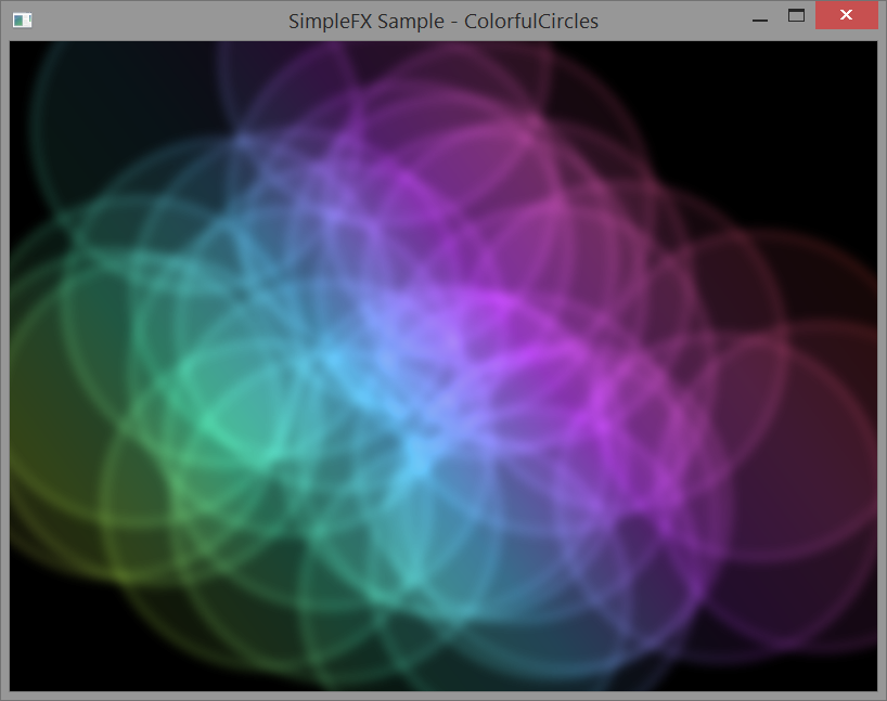 Colorful Circles written in SimpleFX, JavaFX and Scala